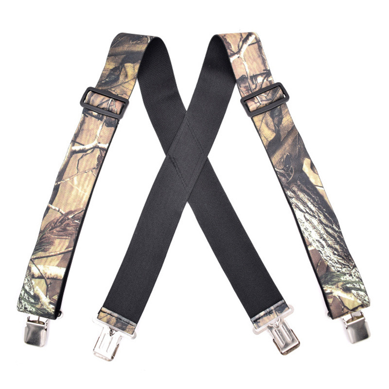 Mens Camouflage Suspenders With Strong Clips Adjustable Elastic Heavy Duty Braces Pants Trousers Straps Belts Tirantes Bretelles