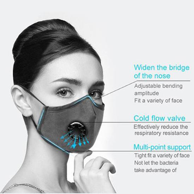 PM2.5 Black mouth Mask anti dust mask Activated carbon filter Windproof Mouth-muffle bacteria proof Flu Face masks Care 1