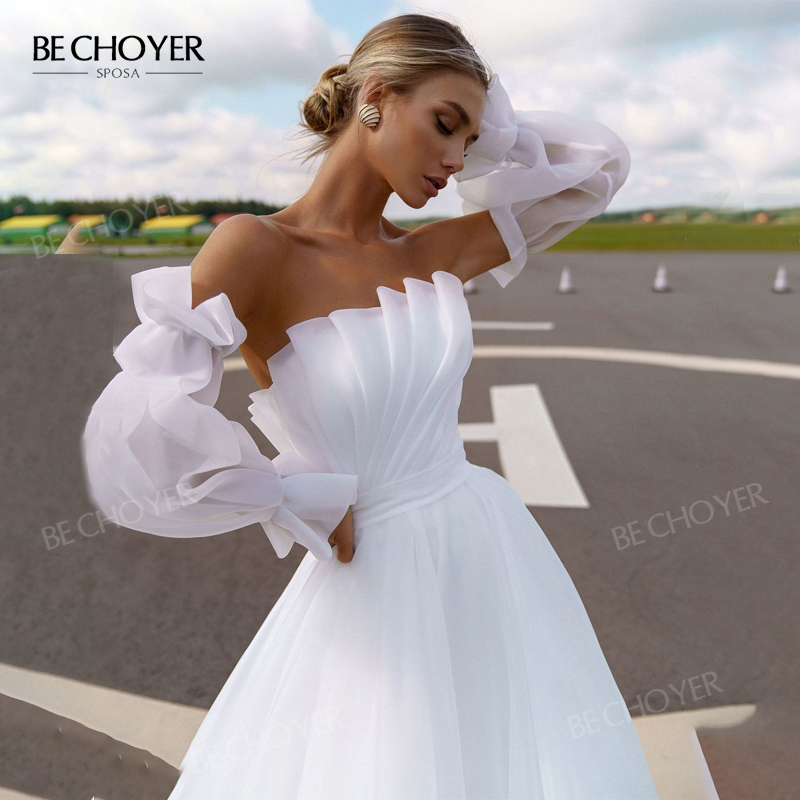 Wedding Dress Fairy 2 In 1 Sleeve Bride Gown Boho 2020 New Tulle A-Line Party Princess BECHOYER NR131 Plus Size Vestido de Noiva