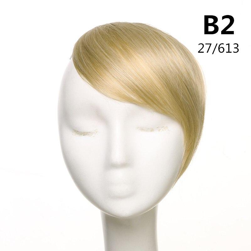 SARLA волосы челка клип в подметание боковая бахрома поддельные накладные взрыва натуральные синтетические волосы кусок волос черный коричневый B2 - Цвет: 27-613