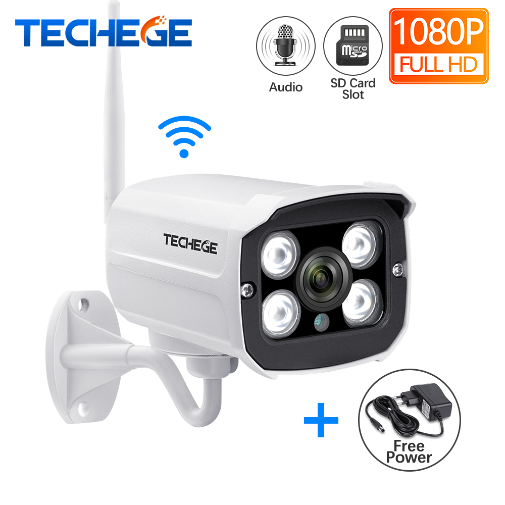 Techege HD 1080P Wireless SD Card Slot Audio IP Camera 2.0MP Wifi Security Camera Night Vision Metal Waterproof Outdoor Camera