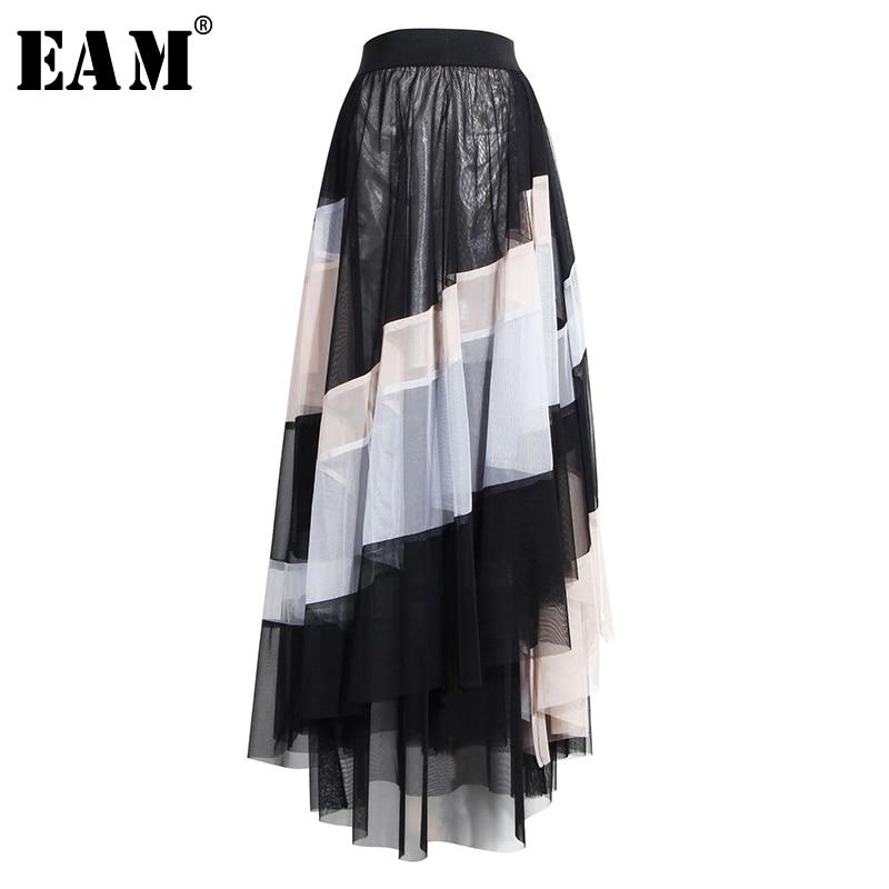 [EAM] High Elastic Waist Black Striped Contrast Color Mesh Half-body Skirt Women Fashion Tide New Spring Autumn 2020 1T127