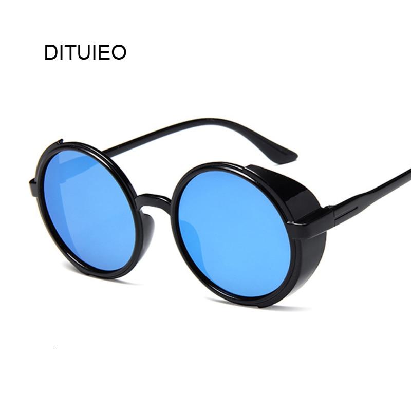 New Retro Black Steampunk Sunglasses Women Round Designer Metal Steam Punk Shields UV400 Sun Glasses Male Female