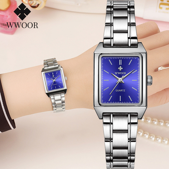 цена WWOOR 2020 Womens Bracelet Watches Casual Stainless Steel Square Ladies Watch Small Elegant Women Quartz Wrist Watch Reloj Mujer онлайн в 2017 году