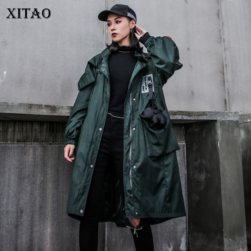 XITAO Plus Size Print   Trench   Women Fashion New 2019 Autumn Patchwork Single Breast Hooded Collar Elegant Loose Coat GCC2174