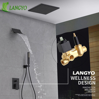 Brass Black Bathroom Rain Shower Set Shower Head Faucet 10/12/16Inch Stainless Steel Wall Type Mounted Waterfall Shower Mixer