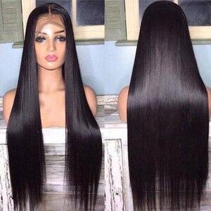 Image 5 - Pelucas de cabello humano con encaje Frontal 13x4, 30 y 32 pulgadas, recto, 4x4, cierre, pelucas de cabello humano con encaje Frontal prearrancado