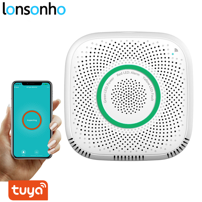 Lonsonho Smart Wifi Gas Sensor Leak Detector Smart Home Security Voice Alarm Tuya Smart Life App Wireless Remote Control-in Sensor & Detector from Security & Protection