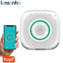 Lonsonho tuya inteligente wi fi sensor de gás detector vazamento inteligente casa segurança voz alarme vida inteligente app controle remoto sem fio