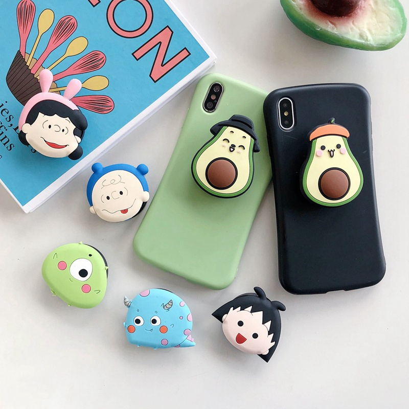 Cartoon Avocado Silicone Multi-Function Phone Holder Folding Bracket For Mobile Phone And Small Table.