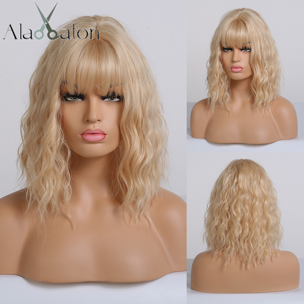 ALAN EATON Light Blonde Lolita Cosplay Bobo Wigs Synthetic Short Wigs With Bangs For Women Water Wave Cute Wigs High Temperature