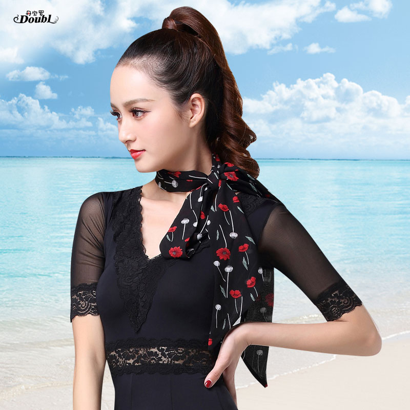 Silk Scarf Decoration Lady Womens Girls Cold-proof Scarf For Protection Neck Tied Ribbon Hairband Waistband Strip Accessories