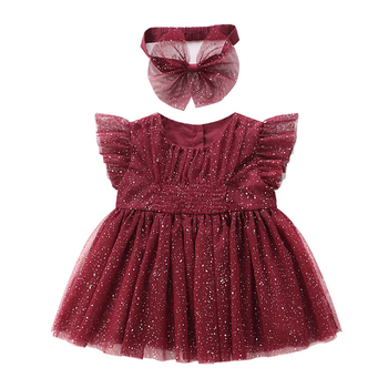 6252 Dress + Headband Sequins Toddler Tutu Princess Baby Girl Dress Party Wedding Brithday Kid Dress For Girl Wholesale Clothes