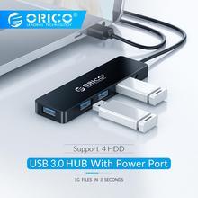 ORICO высокоскоростной 4 порта USB 3,0 концентратор с портом питания USB2.0 сплиттер OTG адаптер для iMac ноутбука Аксессуары для настольных ПК
