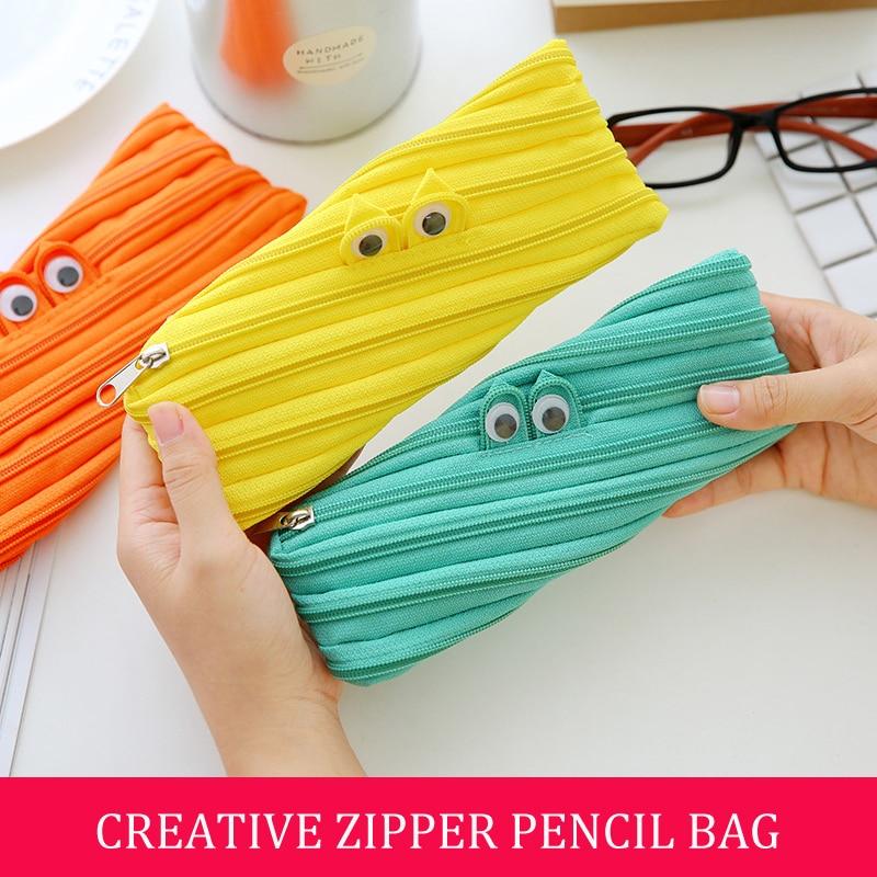 Bianyo School Supplies Stationery Kawaii Pencil Case For Kids Canvas Pen Bags Cute School Pencil Case School Zipper Pencil Bag