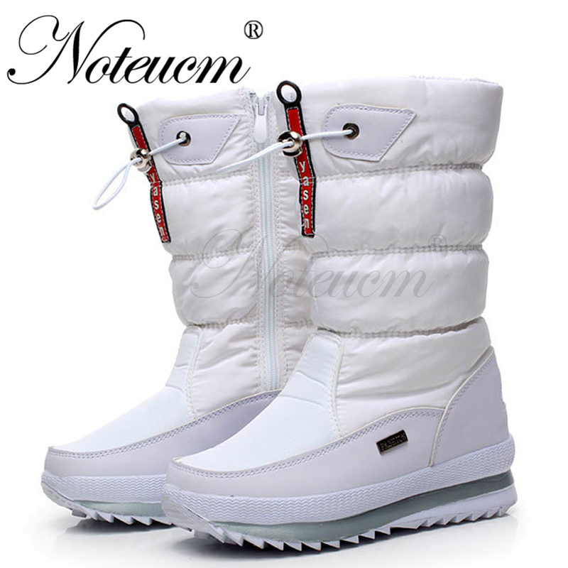 2019 female high winter red white warm waterproof long shoes tall boat footwear snow boots with plush fur shose for women Quilt(China)