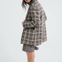 Office Lady Suit Jacket Plaid Double-breasted AutumE New Style ZA Long For Women