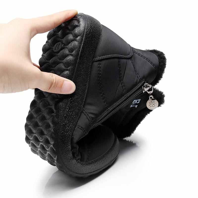 Botas de Invierno para Mujer 2019 zapatos casuales para Mujer Botas de nieve sólidas cálidas de felpa Botas de Mujer con cremallera a prueba de agua botines de Mujer