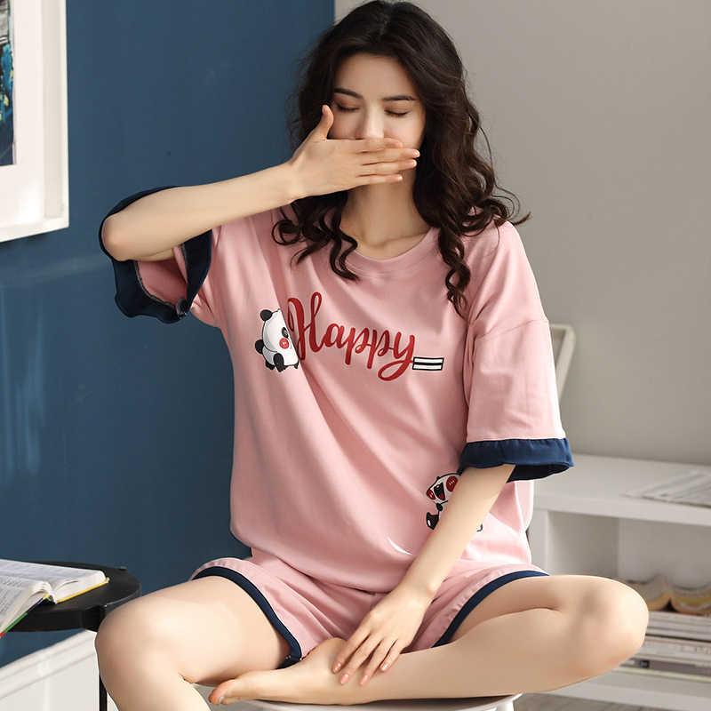 BZEL 귀여운 팬더 패턴 Nightwear 핑크 잠옷 세트 여름 뜨거운 홈 착용 대형 느슨한 잠옷 레저 홈 의류 여성을위한