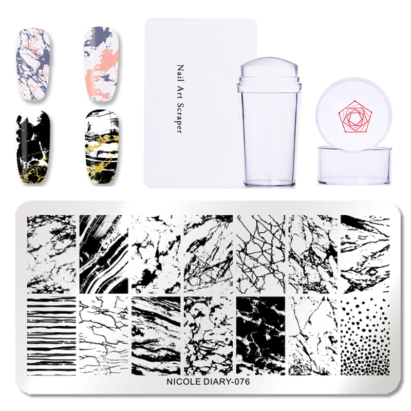 Image 5 - NICOLE DIARY 3pcs/set Nail Stamping Plate Stamper Scraper Geometric Coconut Flower Images Stamp Template Manicure Art Stencil-in Nail Art Templates from Beauty & Health