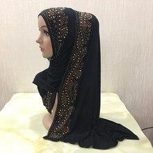 Foulard musulman long en jersey de coton H099, châle hijab islamique avec strass, couvre-chef arabe rectangulaire