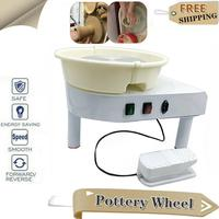 Electric Pottery Forming Machine 25cm Molding Ceramic Pottery Wheel with Tray Foot Pedal 350W Art Craft DIY Clay Tools Mold Work