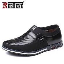 REETENE בתוספת גודל 37 48 גברים נעלי עור נעליים יומיומיות גברים להחליק על נהיגה נעלי גברים מוקסינים נעליים שטוחות זרוק חינם