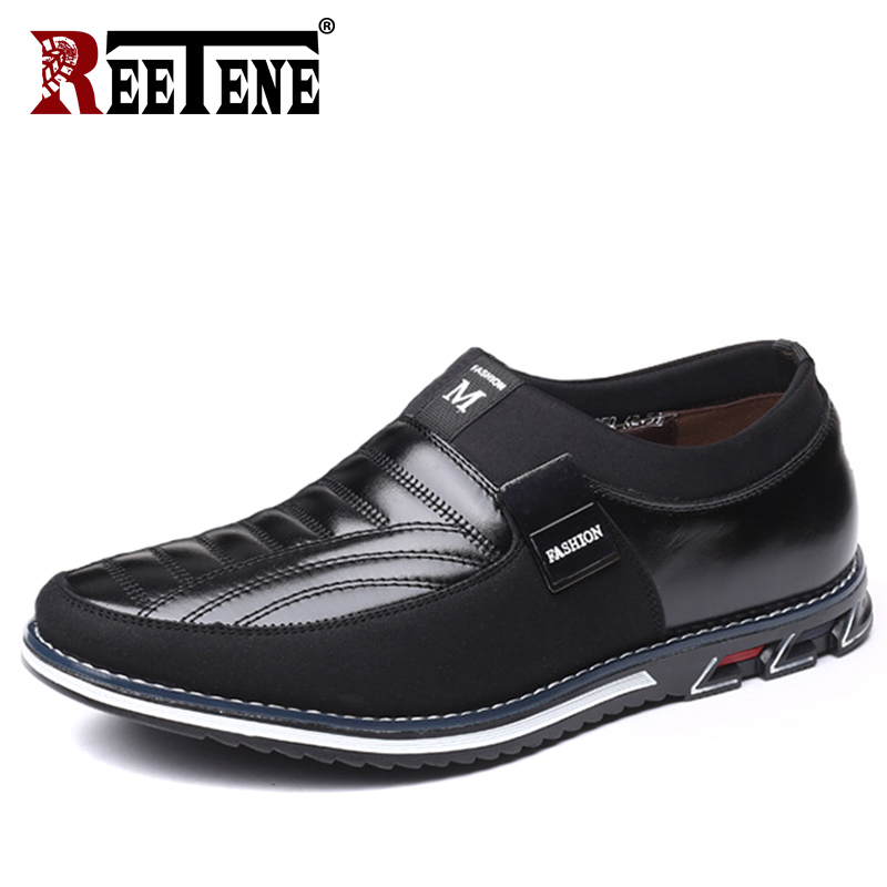 REETENE Plus Size 37-48 Men Loafers Leather Casual Shoes Men Slip On Driving Shoes For Men Moccasins Flat Shoes Drop Shipping