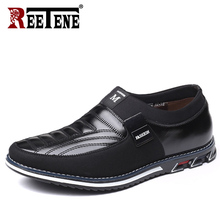 Reetene Plus Size 37 48 Mannen Loafers Lederen Casual Schoenen Mannen Slip Op Rijden Schoenen Voor Mannen Mocassins Platte schoenen Drop Shipping