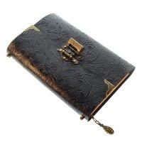Geprägte Muster Weichen Leder Reise Notebook mit Schloss und Schlüssel Tagebuch Notizblock Kraft Papier für Business Skizzieren Schreiben-in Planer aus Büro- und Schulmaterial bei
