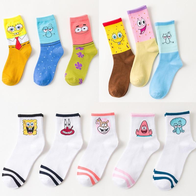 Personalized Women Socks Cotton Female Harajuku Cartoon Cute Anime Print Socks Funny Spring Summer Autumn Winter Sox Mid-Tube
