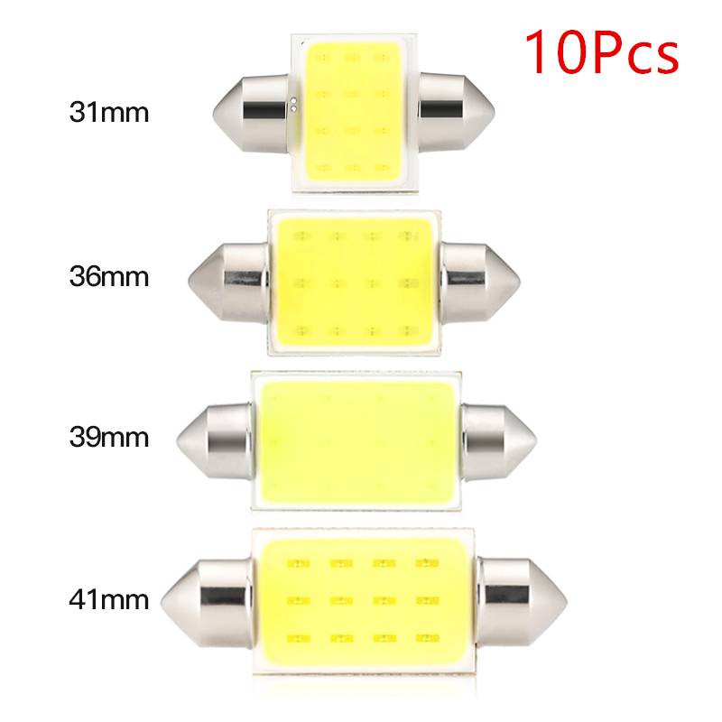 10pcs C10W C5W LED COB 31mm 36mm 39mm 41mm White Bulbs For Cars License Plate Interior Reading Light 6500K 12SMD Festoon 31-41mm