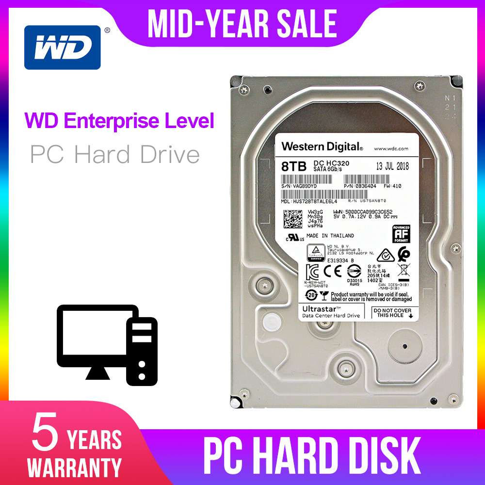 Western Digital 8 ТБ 6 ТБ 4 ТБ 2 ТБ 1 ТБ Ultrastar DC HC320 жесткого диска SATA HDD-7200 об/мин Класс SATA 6 ГБ/сек. 256MB Кэш 3,5 HUS728T8TALE6L4