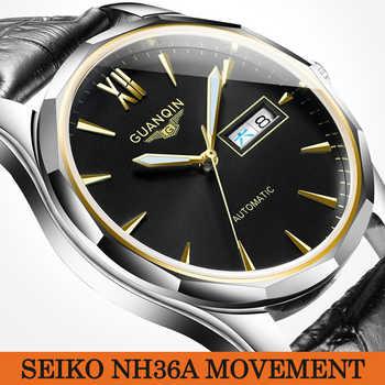 GUANQIN hombres automático mecánico japonés NH36 movimiento impermeable zafiro relojes hombres lujo marca reloj Relogio Masculino