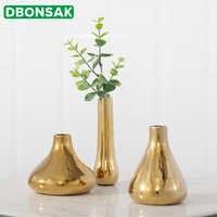 Nórdicos de oro florero de cerámica de Mini flor jarrón con adorno floral de flor de cerámica maceta hogar arte decorativo escritorio habitación florero
