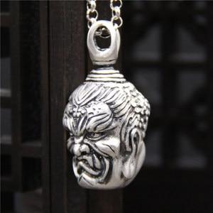 Image 3 - Handcrafted 100% 999 Silver Buddha Head Pendant Vintage Pure Silver Buddha Statue Amulet Pendant Buddha & Devil Man Pendant