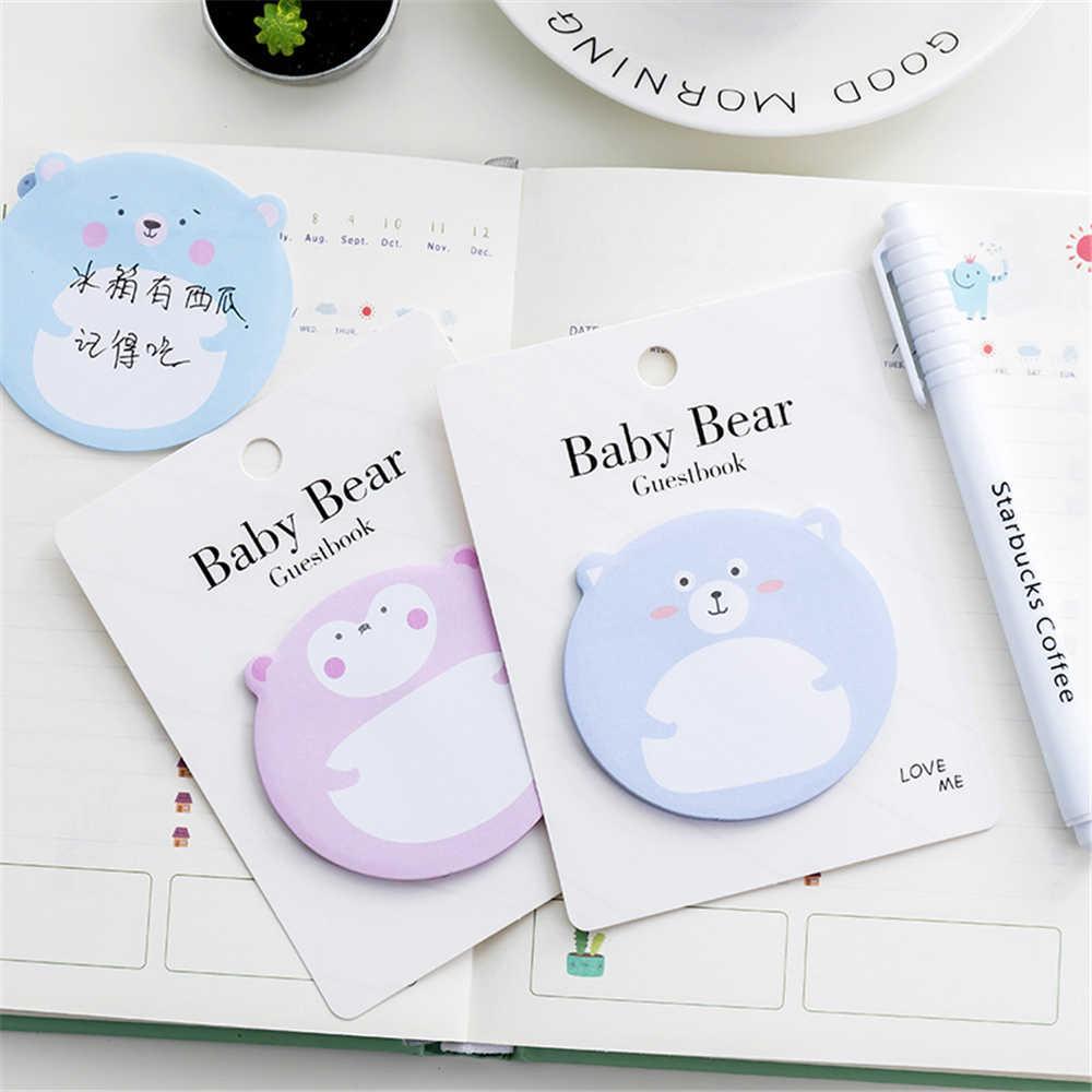 1 Buah Kawaii Sticky Baby Bear Catatan Kreatif Post Notepad Agenda Memo Bantalan Kantor Sekolah Stationery