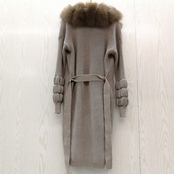 2019 Real Natural fox fur coat sweater cardigan women's genuine wool knitting with fox collar Long warm winter Autumn outerwear