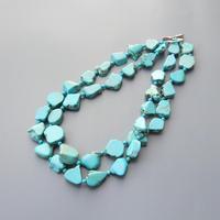 LiiJi Unique Blue Turquoises Necklace 2 Row Statement Necklace For Women Fashion Necklace Approx 48cm