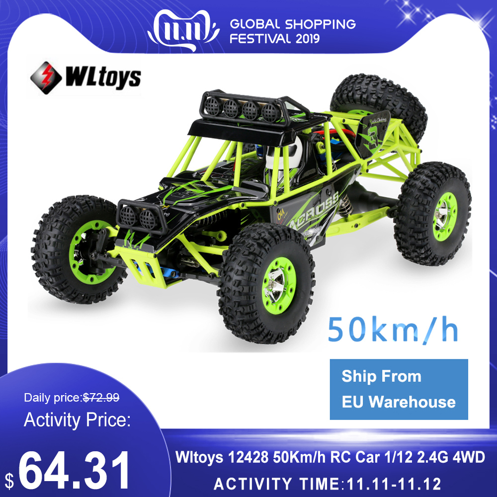 Wltoys 12428 50Km/h High Speed RC Car 1/12 Scale 2.4G 4WD RC Off road Crawler RTR Electric RC Climbing Car Toy for Kids-in RC Cars from Toys & Hobbies