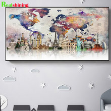 large 5d diy diamond painting colorful world map full square round big ben architecture diamond embroidery Cross Stitch N1809