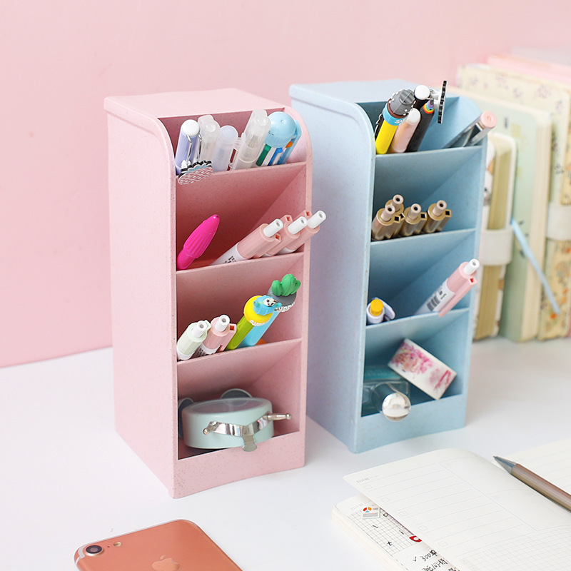 Pen Holder Office School Storage Case Clear Plastic Box Pen Pencil Organizer Make-up Brush Container Multi-function 4 Girds