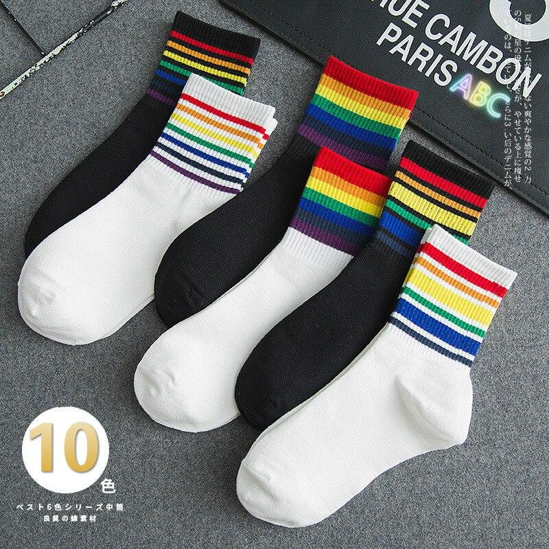Winter Women's Socks Cotton Rainbow Stripes Socks Christmas Fashion Warm Christmas Casual Tide Socks Harajuku  Korean