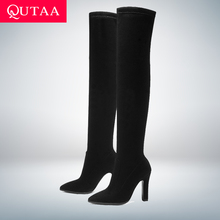 Женские ботфорты без застежки QUTAA, Черные Сапоги выше колена на тонком высоком каблуке, с острым носком, зимние сапоги, размеры 34 43, 2020