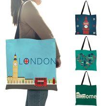 Wysokiej jakości pościel torba na ramię londyn Big Ben wieża rzym drukuj dużego ciężaru torba moda damska kobiety dorywczo plaża torba na zakupy torebki