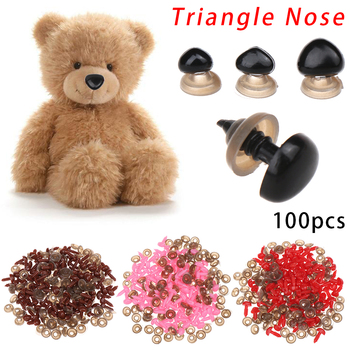 100pcs Safety Parts Plastic Triangle Noses for Dolls Toys Bear DIY Nose Buttons Doll Toy Crafts Accessories