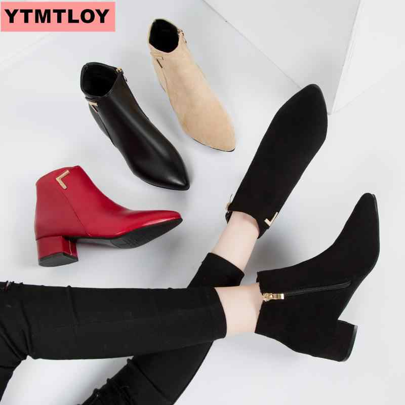 Net kırmızı düşük topuk kadın ayakkabısı tek çizmeler 2019 sonbahar ve kış yeni ile kalın sivri kısa çizmeler buzlu Chelsea çizmeler