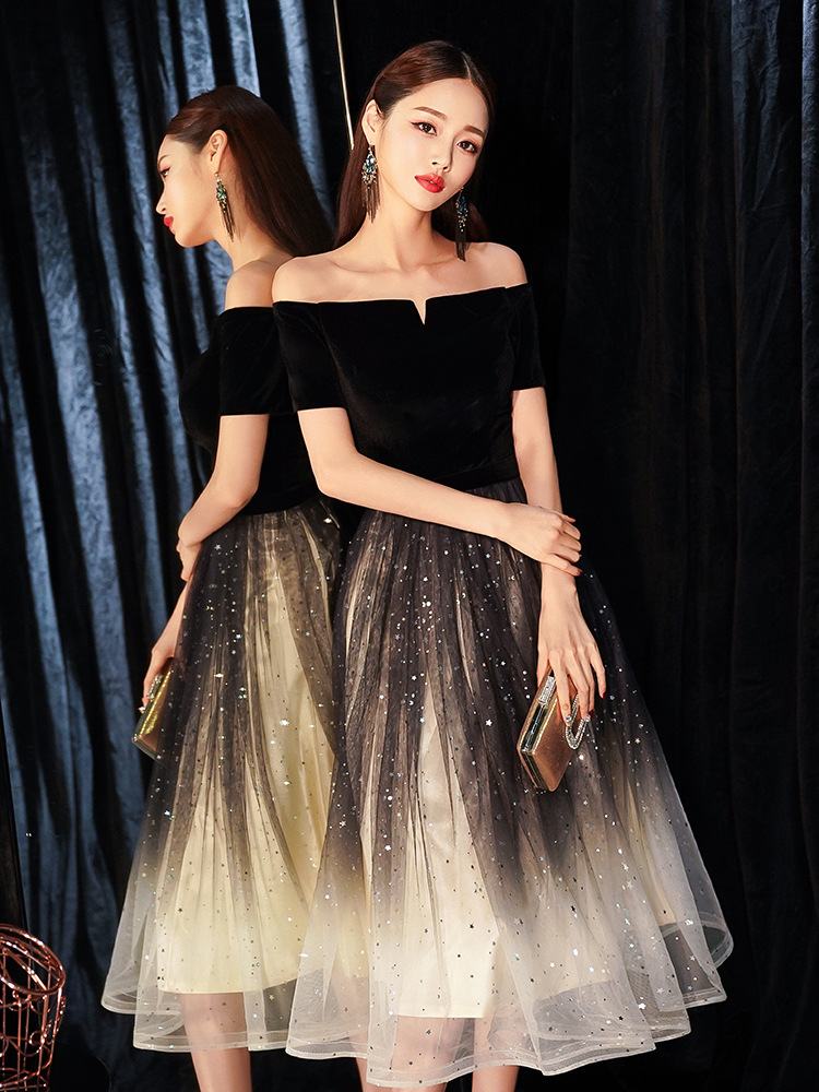 Very Fairy Evening Dress Women's 2019-Style Banquet Slimming Nobility Black And White With Pattern-Elegant Party Dress Party