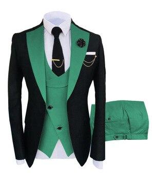 New Costume Slim Fit Men Suits Slim Fit Business Suits Groom Black Tuxedos for Formal Wedding Suits Jacket Pant Vest 3 Pieces 13