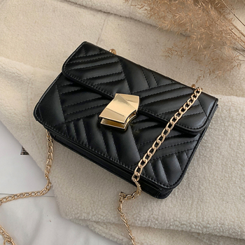 2020 Fashion Thread Striped Chains Small Square Shoulder Pu Leather Crossbody Messenger Flap Bag